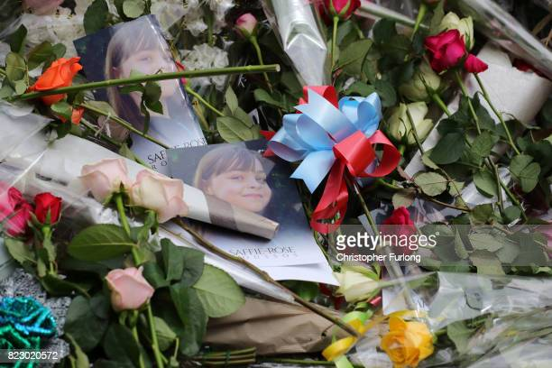 Floral tributes and images lay outside during the funeral of Manchester Attack victim Saffie Roussos arrives at Manchester Cathedral on July 26 2017...