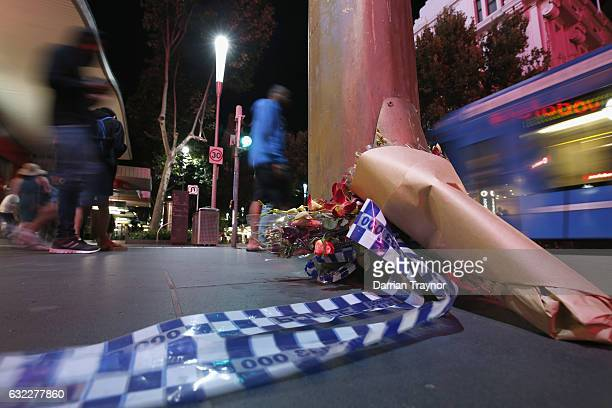 Floral tributes are seen in Bourke Street on January 21 2017 in Melbourne Australia Four people were killed and 20 are injured after a man...