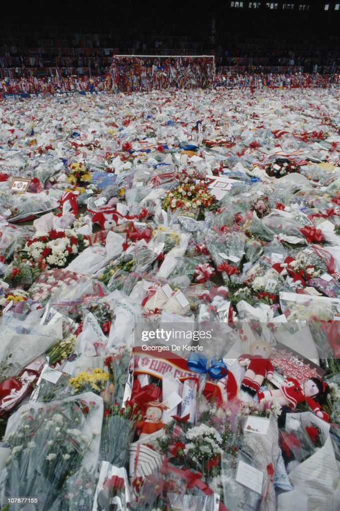 Floral tributes cover the pitch at Anfield, Liverpool, during a memorial ceremony held after the Hillsborough disaster, in which 96 Liverpool fans were killed in a crush at the Sheffield stadium, 22nd April 1989.