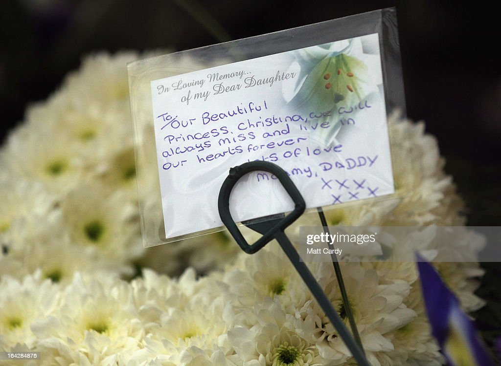 Floral tributes for Christina Edkins are seen at her funeral service at St Phillips Cathedral on March 22, 2013 in Birmingham, England. Hundreds of people attended the service for the teenager, who was stabbed to death on a bus in Birmingham. Leasowes High School, in Halesowen, where the 16-year-old was a pupil, was closed today to allow children and staff to join her family at the service