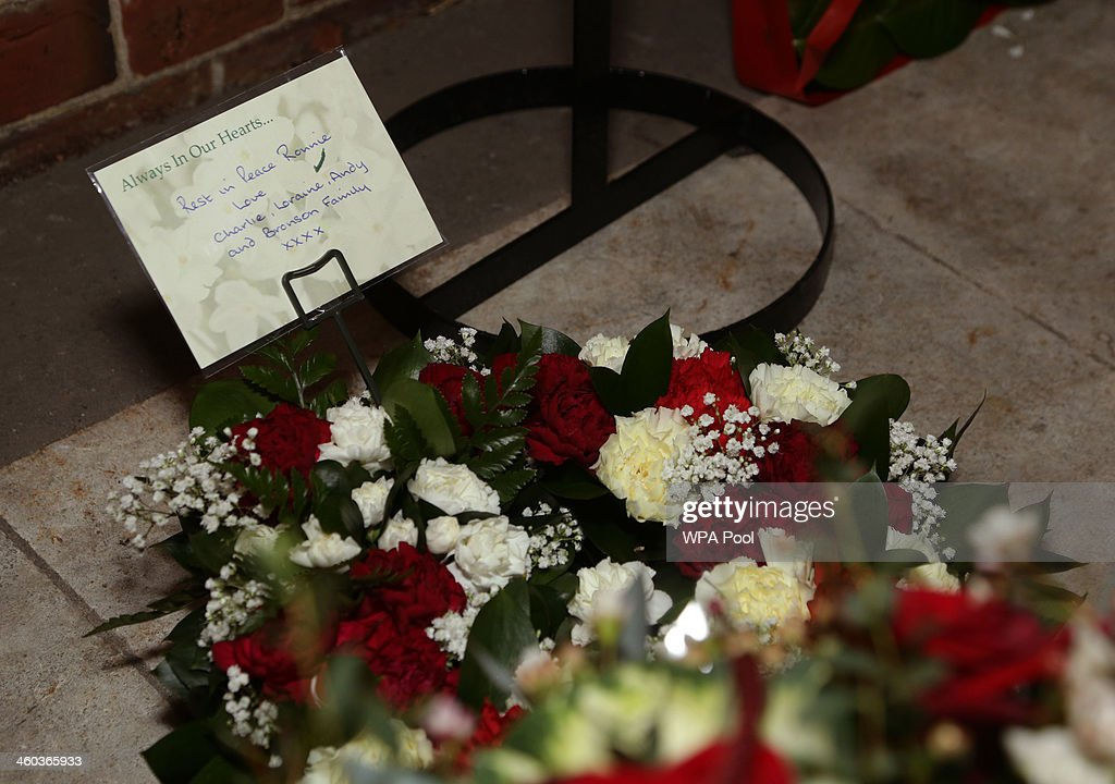 Floral tributes for Ronnie Biggs in the Gardens of Remembrance after his funeral service of during the funeral for the 'Great Train Robber' Ronnie...