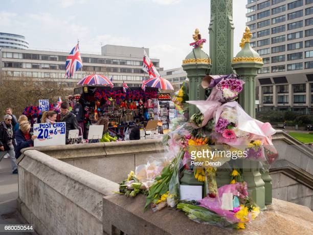A floral tributes left for victims of the terror attack in Westminster on the 22nd March Several people died and at least 40 were injured after an...