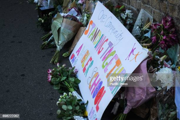 Floral tributes near the scene of attack The night before a man drove a white van into a group of people on their way home from prayers One person...
