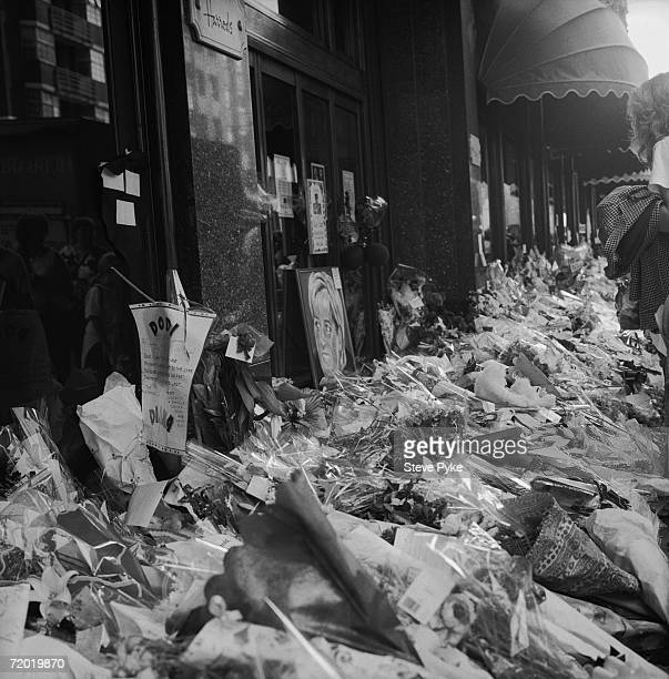 Floral tributes outside Harrods department store in London following the death of Princess Diana and Dodi AlFayed in a car crash September 1997