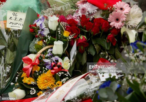 Floral tributes outside the Shankly Gates at Anfield before the official memorial service at Liverpool's Anfield stadium to mark the 20th anniversary...