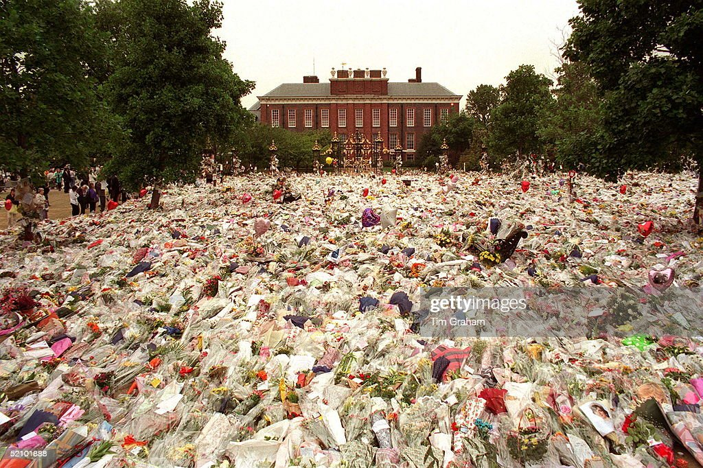 Floral Tributes To Diana, Princess Of Wales At Her Home Kensington Palace, London.