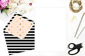 Flat lay. Table view, black stripe, Header website or Hero website, Floral with stationery on table