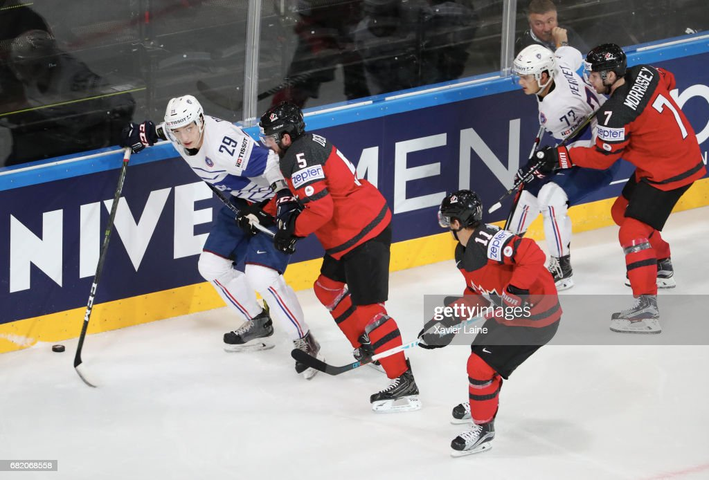 Floran Douay of France during the 2017 IIHF Ice Hockey World Championship game between Canada and France at AccorHotels Arena on May 11, 2017 in Paris, France.