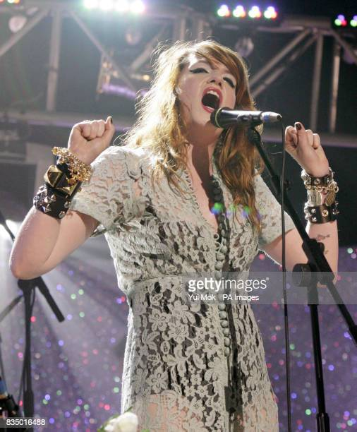 Florence and the Machine on stage during the Brit Awards shortlist announcement at the Roundhouse in London