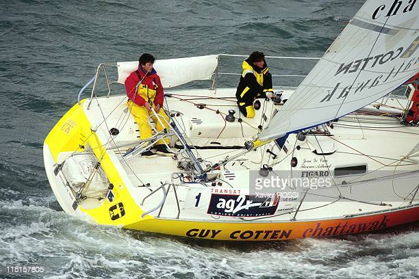 Florence Arthaud and Jean Le Cam in France on March 23 1996 On 'Guy Cotten/Chattawak'