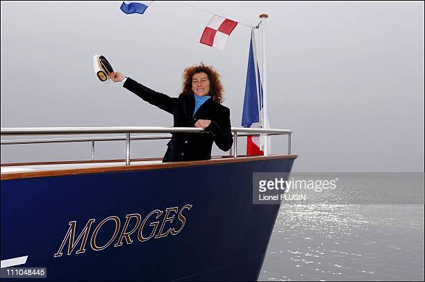 Florence Arthaud godmother of the CGN ship on the Leman lake in Morges Switzerland on December 22nd 2005