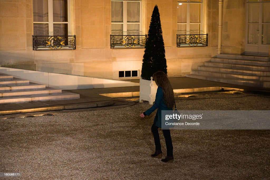 Florence Cassez arrives at the Elysee Palace on January 25, 2013 in Paris, France. A Supreme Court in Mexico voted to free Florence Cassez, 38, from France who was serving out a 60-year sentence for kidnapping. The decision was made after it was decided her rights were violated by a television broadcast of a staged raid on the kidnappers by the police when in fact the alleged kidnappers, including Cassez, were arrested the previous day on a highway.