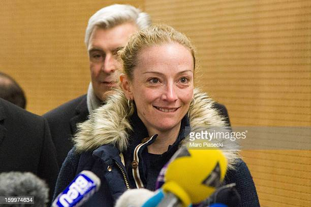 Florence Cassez attends a Press conference following her release from prison in Mexico at CharlesdeGaulle airport on January 24 2013 in Paris France...