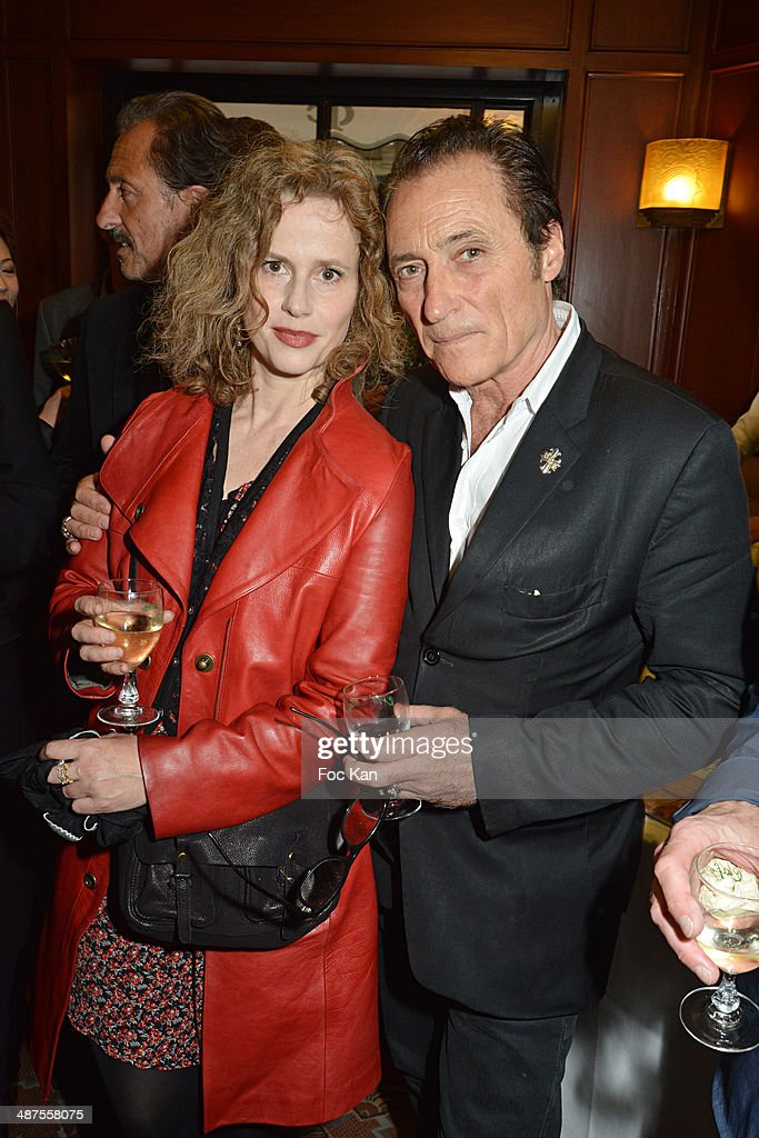 Florence DarelÊand Franck Ros attend the Francis Boussard's and Nadine Carpentier's : Private Cocktail At Cafe de Flore on April 30, 2014 in Paris, France.