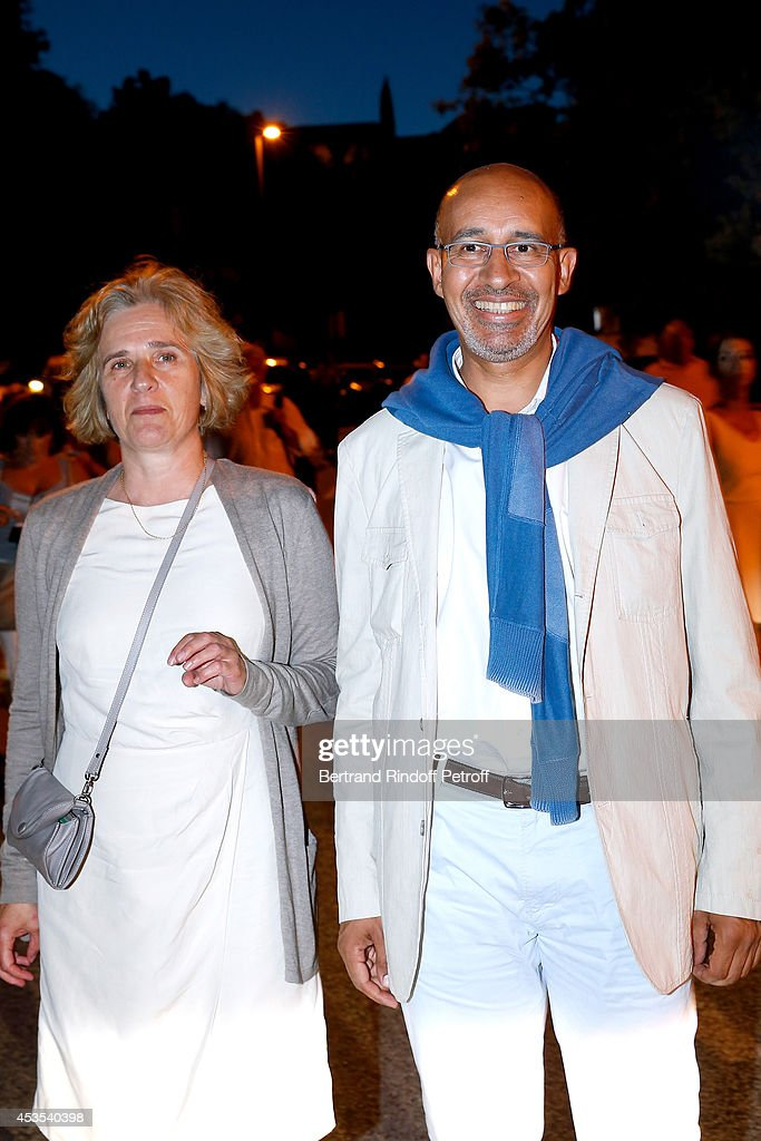 Florence de Chalonge and Secretary of State for European Affairs Harlem Desir attend the Michel Boujenah's show 'Ma vie revee' for the last evening of the 30th Ramatuelle Festival : Day 12 on August 12, 2014 in Ramatuelle, France.