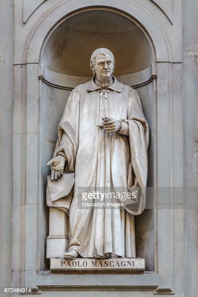 Florence Florence Province Tuscany Italy Statue in Piazzale degli Uffizi of Italian physician Paolo Mascagni 17551815 who first completely described...
