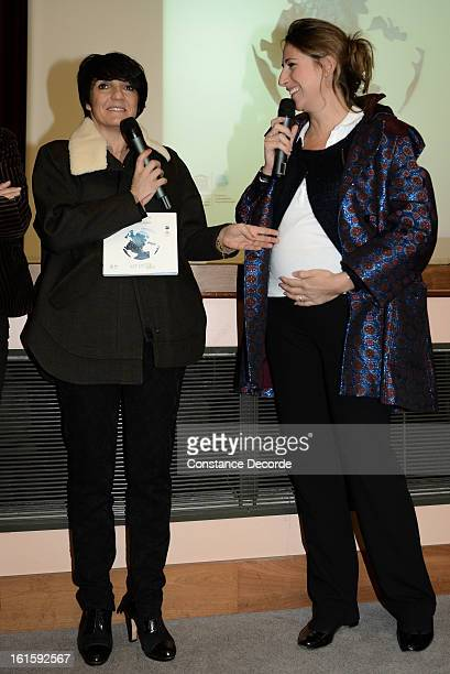 Florence Foresti and Maud Fontenoy promote Ocean and Environmental Professions at Lycee Louis Le Grand on February 12 2013 in Paris France