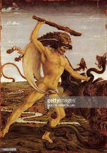Florence Galleria Degli Uffizi Hercules and the Hydra ca 1475 by Antonio Pollaiuolo temepra on wood 17x12 cm