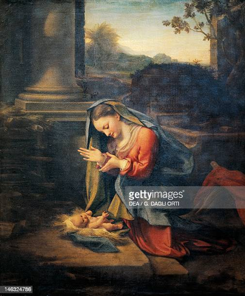 Florence Galleria Degli Uffizi Madonna Adoring the Christ Child 15241526 by Antonio Allegri known as Correggio oil on canvas 81x67 cm