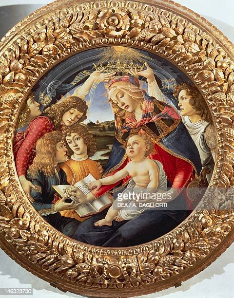 Florence Galleria Degli Uffizi Madonna and Child with angels or The Madonna of the Magnificat 14801489 by Sandro Botticelli tempera on panel diameter...