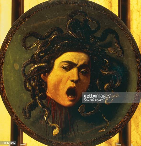 Florence Galleria Degli Uffizi Medusa ca 1597 by Michelangelo Merisi known as Caravaggio oil on canvas mounted on wooden shield 60x55 cm
