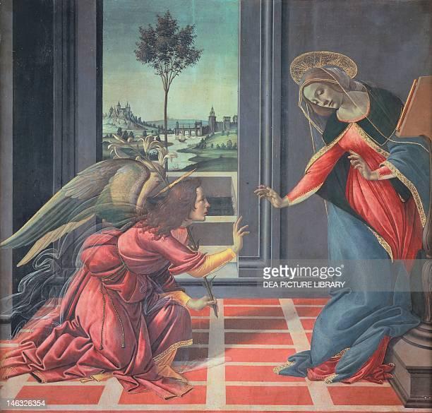 Florence Galleria Degli Uffizi The Cestello Annunciation 14891490 by Sandro Botticelli tempera on wood 150x156 cm