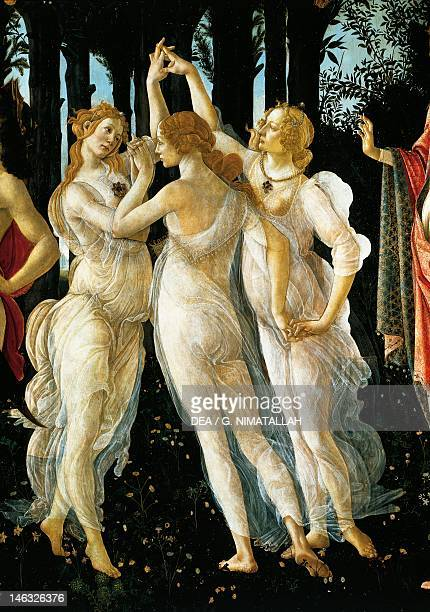 Florence Galleria Degli Uffizi The Three Graces detail of the allegory of spring ca 14771490 by Sandro Botticelli tempera on wood 203x314 cm