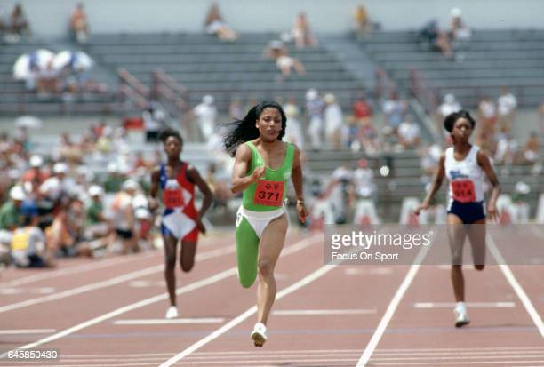 Florence Griffith Joyner competes at the 1988 Olympics Trials circa 1988 at IU Michael A Carroll Track and Soccer Stadium in Indianapolis Indiana