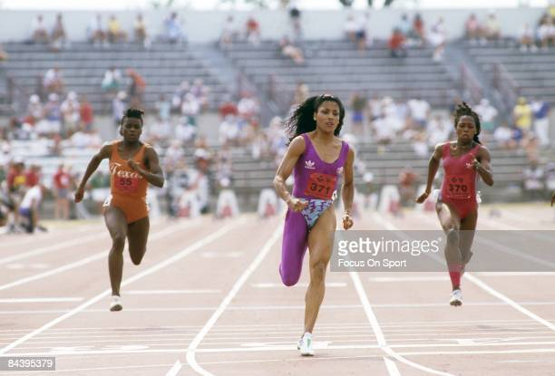Florence Griffith Joyner competes during the 100m at the 1988 US Track and Field Olympic Trials in Indianapolis Indiana