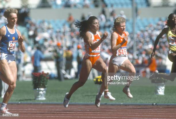 Florence Griffith Joyner of the United States competes in the Games of the XXIV Olympiad at the 1988 Summer Olympics circa 1988 in Seoul South Korea