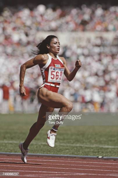 Florence GriffithJoyner of the United States running to win the gold medal in the Women's 100 metres final event during the XXIV Summer Olympic Games...