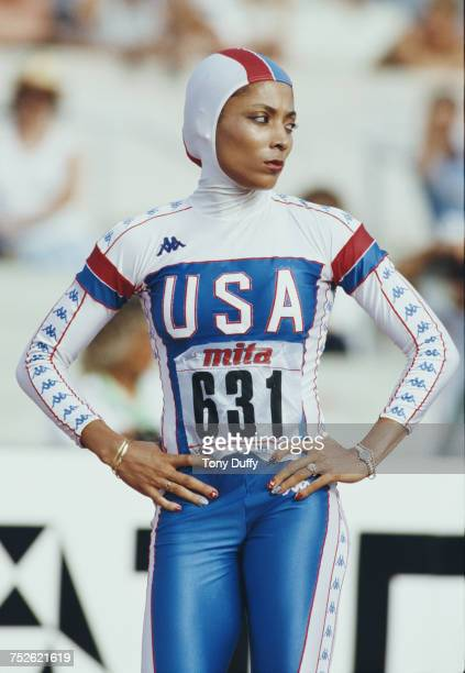 Florence GriffithJoyner of the United States wearing the hooded speed skating body suit prepares to run in the Women's 200 metres final event at the...