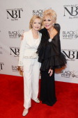 Florence Henderson and Mitzi Gaynor arrives at Neveda Ballets Woman Of The Year Black and White Ball at Aria on January 25 2014 in Las Vegas Nevada