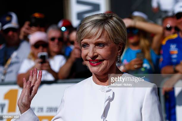 Florence Henderson arrives at the Indianapolis Motor Speedway on May 29 2016 in Indianapolis Indiana