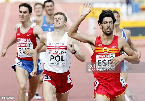 Antonio Reina of Spain Grzegorz Krzosek of Poland and Dmitriy Bogdanov of Russia compete for the 800m Men during the Athletics European Cup 2005 in...