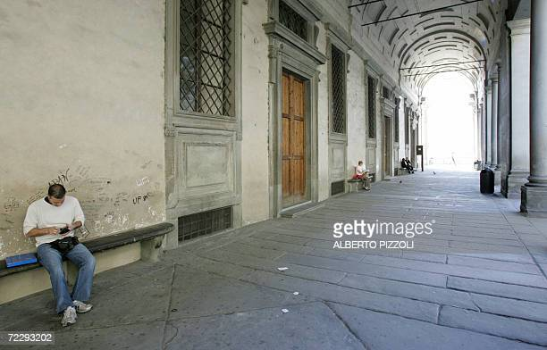 Picture of the arcades of the Uffizi in Florence 27 October 2006 The floodwaters from the Arno River swept through the city and killed 87 people and...