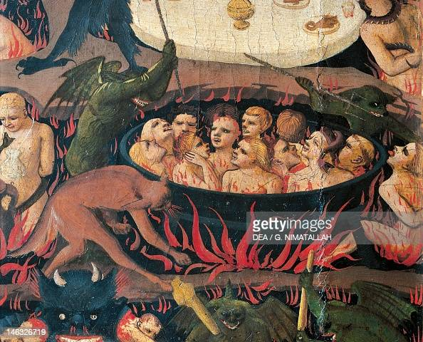Florence Museo Di San Marco Hell with demons and the damned detail from The Last Judgement by Giovanni da Fiesole known as Fra Angelico tempera on...