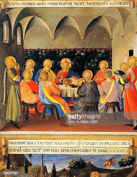 Florence Museo Di San Marco Inset depicting the Last Supper panel from the Armadio degli Argenti with the life of Jesus 14511453 by Giovanni da...