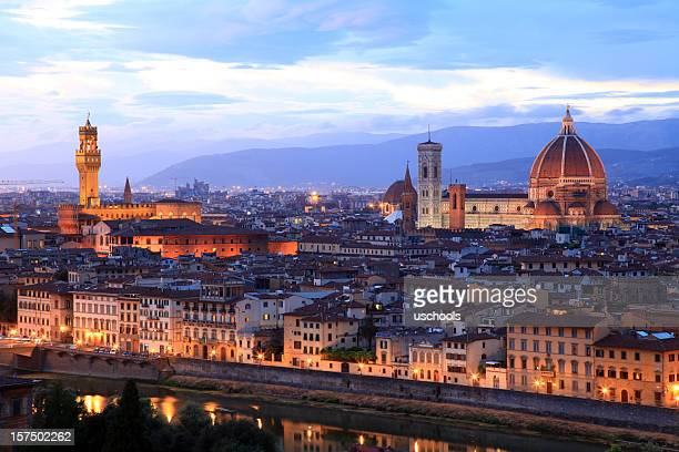 Florence old town evening panorama, Tuscany, Italy