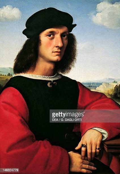 Florence Palazzo Pitti Galleria Palatina Portrait of Agnolo Doni ca 1506 by Raphael Sanzio oil on wood 63x45 cm