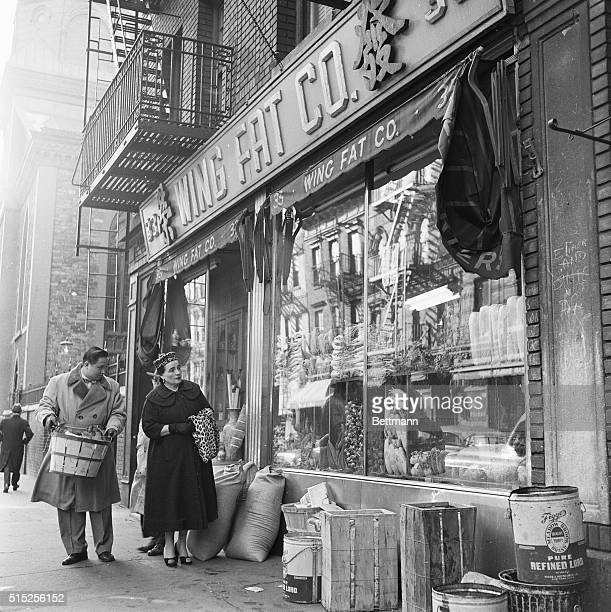 Florence Pike shops for ingredients for her restaurant Ruby Foo's with her interpreter Heywood Lee | Location Chinatown Lower Manhattan New York New...