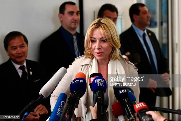 Florence Portelli spokesperson of former French presidential election candidate for the rightwing Les Republicains party Francois Fillon speaks to...
