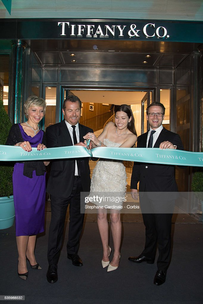 Florence Rollet (Group Vice President of Tiffany & Co Europe), Frederic Cumenal (President of Tiffany & Co), Jessica Biel and Marc Jacheet (Managing Director Tiffany & Co France and Benelux) attend the Tiffany & Co Flagship Opening on the Champs Elysee on June 10, 2014 in Paris, France.