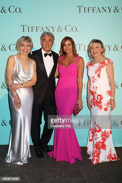 Florence Rollet Massimo Giletti Cristina Parodi and Raffaella Banchero attend Tiffany Co celebration of the opening of its new store in Rome at at...