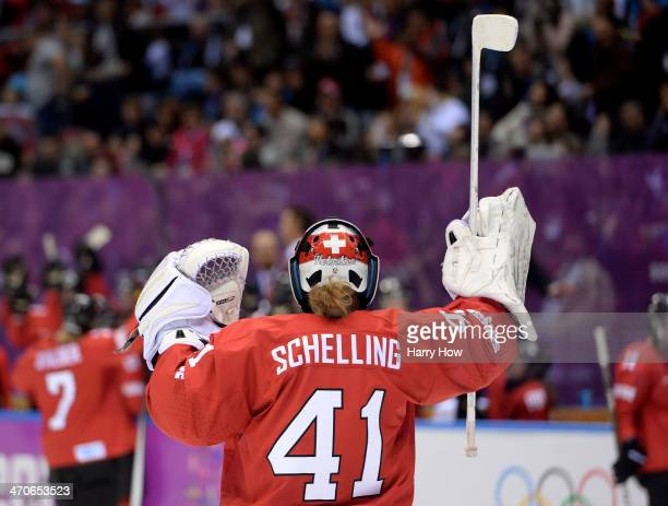 Florence Schelling of Switzerland celebrates after defeating Sweden 43 during the Ice Hockey Women's Bronze Medal Game on day 13 of the Sochi 2014...