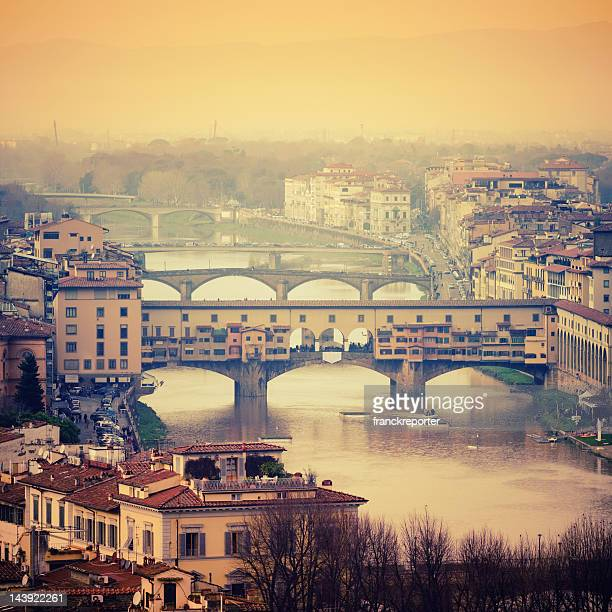 Florence skyline and Arno river with Ponte Vecchio