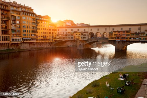 Florence, sunset over Ponte Vecchio