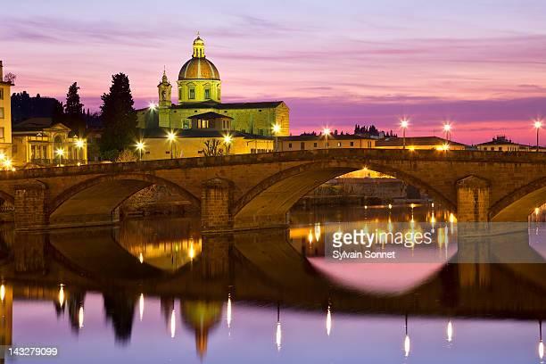 Florence,  the Arno river and Santo Spirito church
