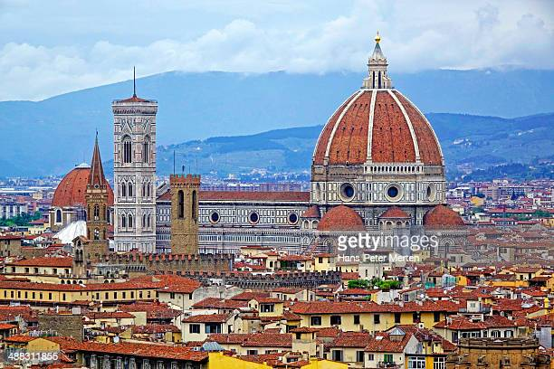 Florence, view over city to Duomo, Italy