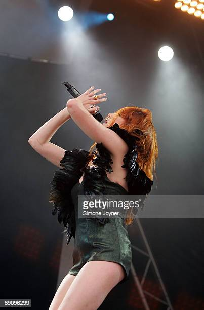 Florence Welch aka Florence and The Machine performs live on stage during day one of the Love Box Weekender at Victoria Park on July 18 2009 in...